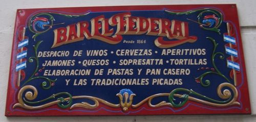 Bar El Federal filete sign