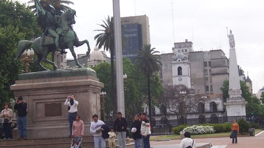View of Plaza de Mayo, the historical heart of Buenos Aires