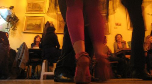 Red Hot (Leggings) on the Tango Milonga Dance Floor