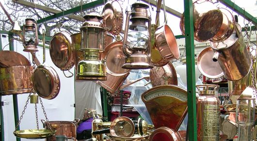 Brass pots and things in Plaza Dorrego, Buenos Aires
