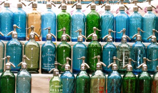 Colorful Soda Siphons at the Feria de San Telmo, Buenos Aires
