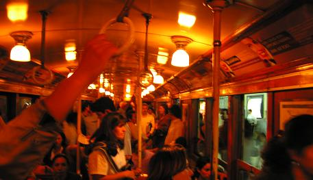 Inside the wooden carriage on Subte Linea A