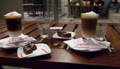 Coffee and chocolates in the outdoor patio at Un Altra Volta