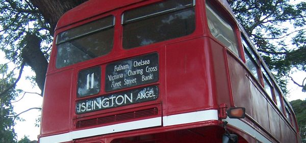Red London bus in the Palermo parks, Buenos Aires