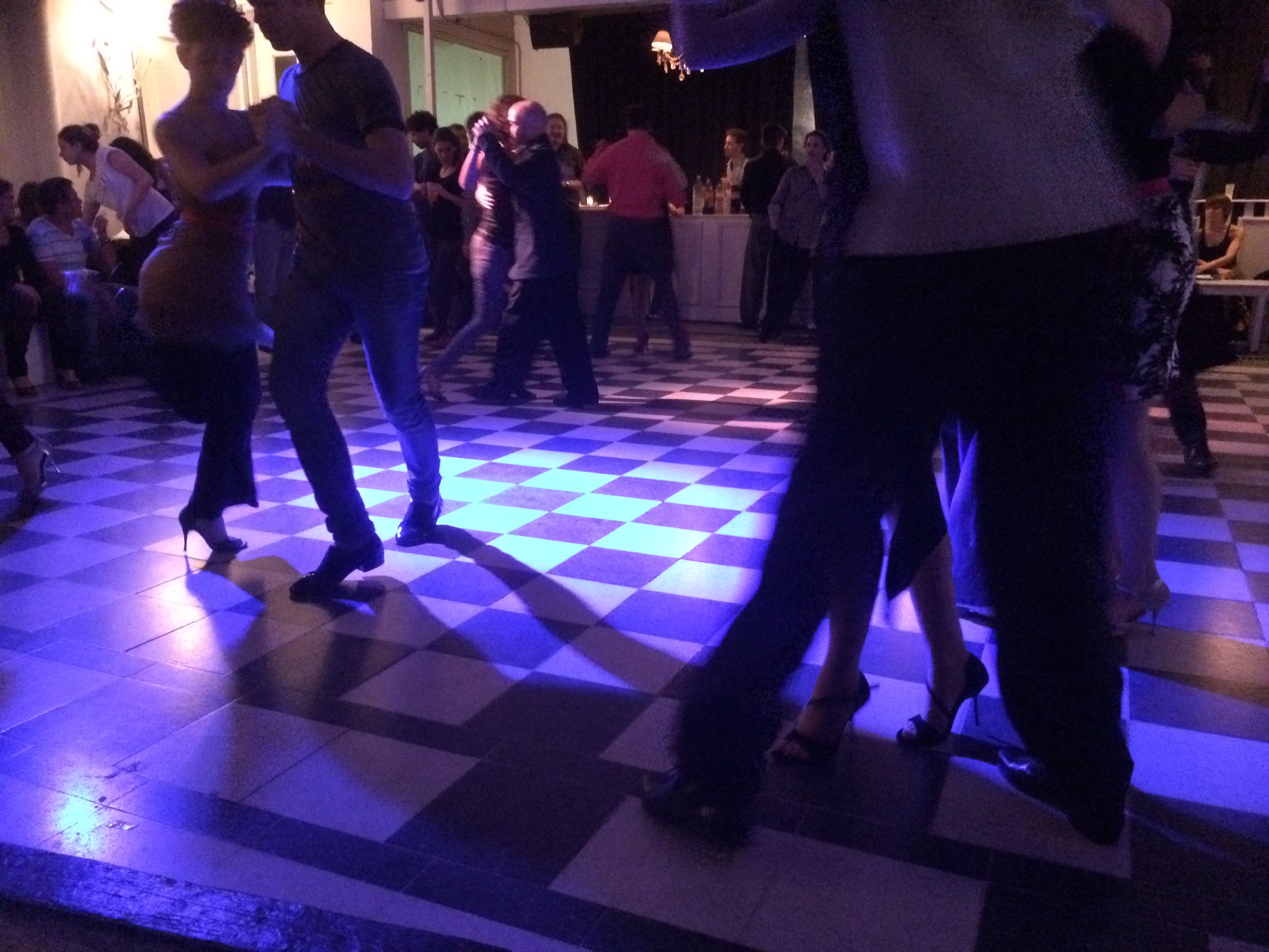 People dancing at a milonga in Palermo, Buenos Aires