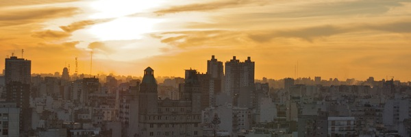 Sunset over the other barrios of Buenos Aires