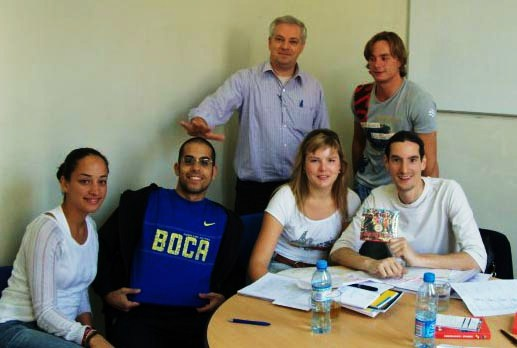 A happy Spanish class with Patricio, their teacher in Buenos Aires