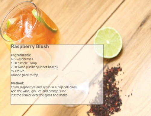 The recipe for a Raspberry Blush cocktail at the Argentine Experience, Buenos Aires