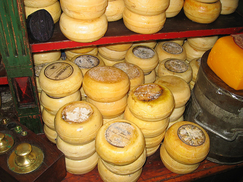 Wheels of cheese from Tandil in Argentina