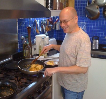 Dan Perlman preparing dinner for his guests at his closed doors restaurant Casa SaltShaker