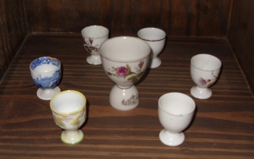 Some of the egg cups in Dan Perlman's collection at his closed doors restaurant in Buenos Aires