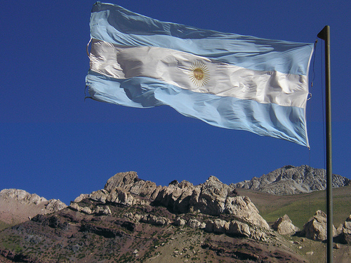 Argentina flag at the border crossing