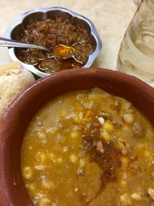 Locro at Ña Serapia, with homemade chimichurri on the side