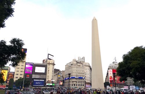 The Obelisk monument on Av 9 de Julio in downtown Buenos Aires